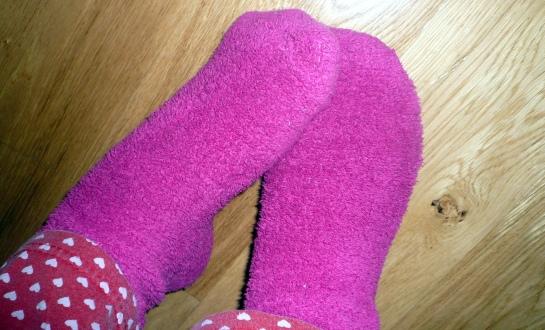 pink fluffy socks
